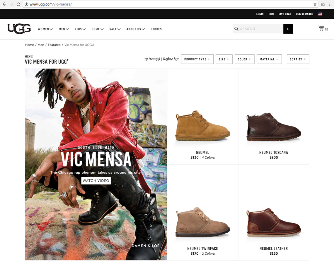 Vic Mensa featured on UGG's site